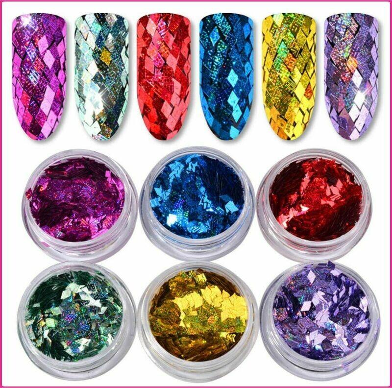 Sets : Diamond laser colorful sequins 6pcs