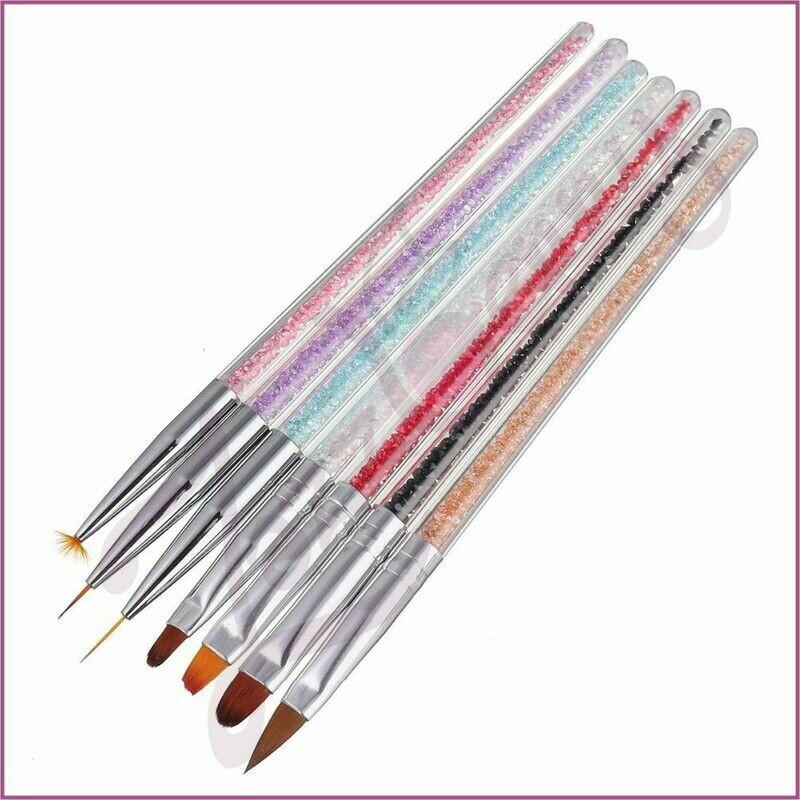 Manicure Brushes - Rhinestones : 7 pcs