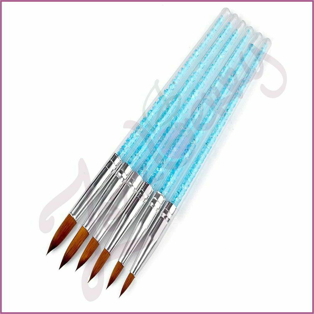 Acrylic Brush : 6pcs- Blue Crystals