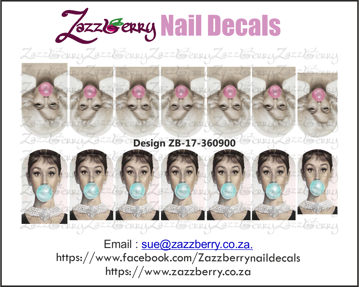 Audrey and Marilyn Bubble Gum Nail Decals