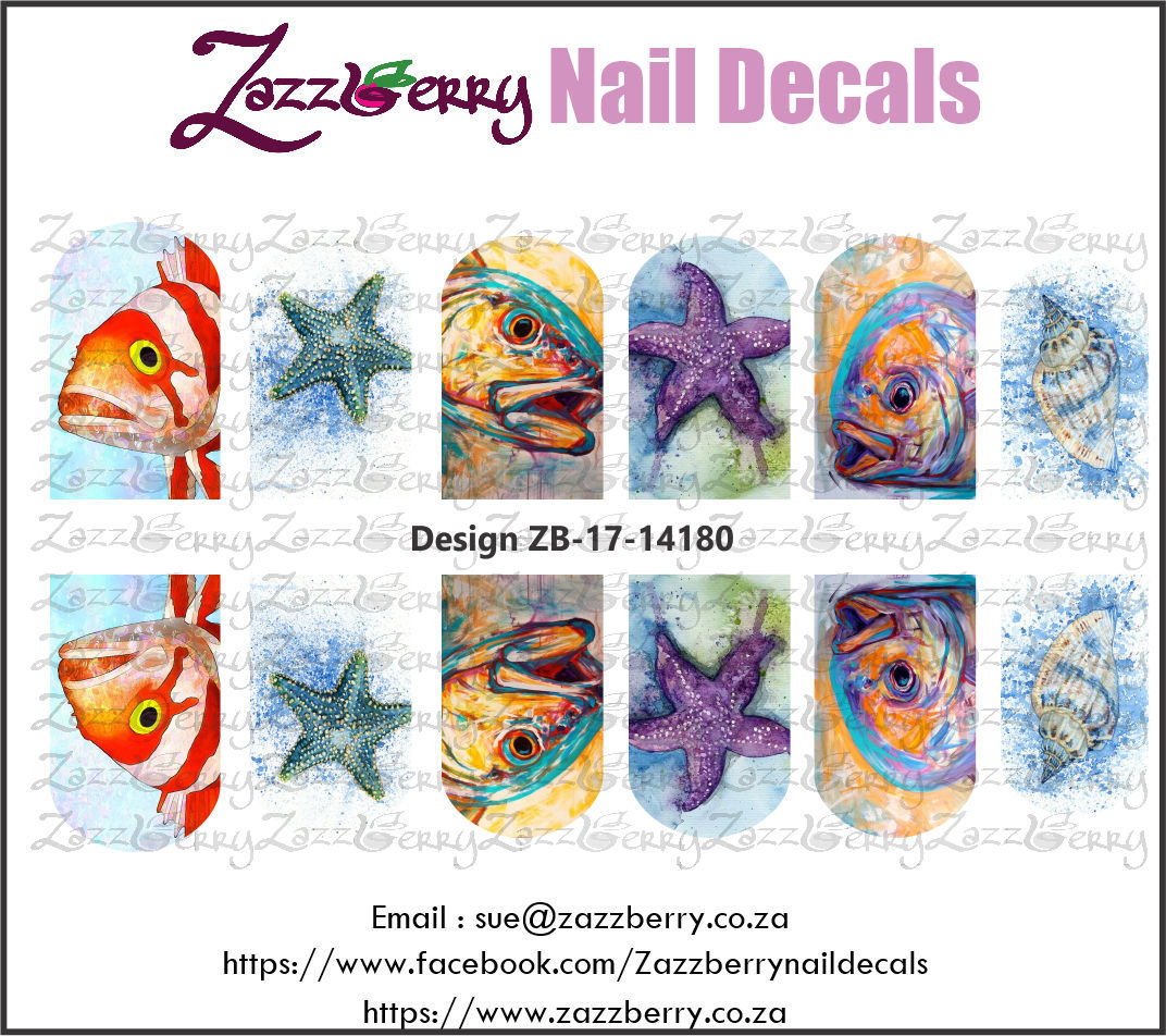 Water Color Fishes and Starfish Nail Decals