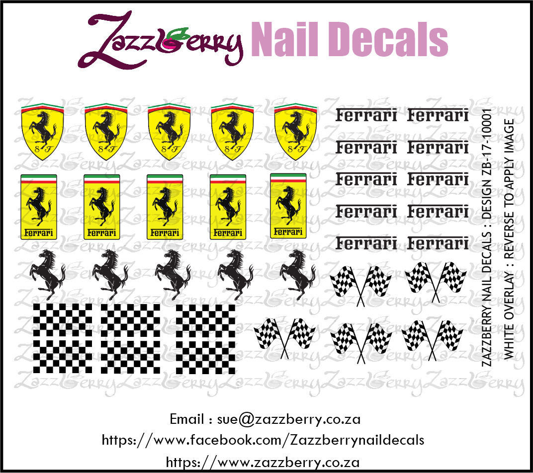 Ferrari Water Slide Nail Decals