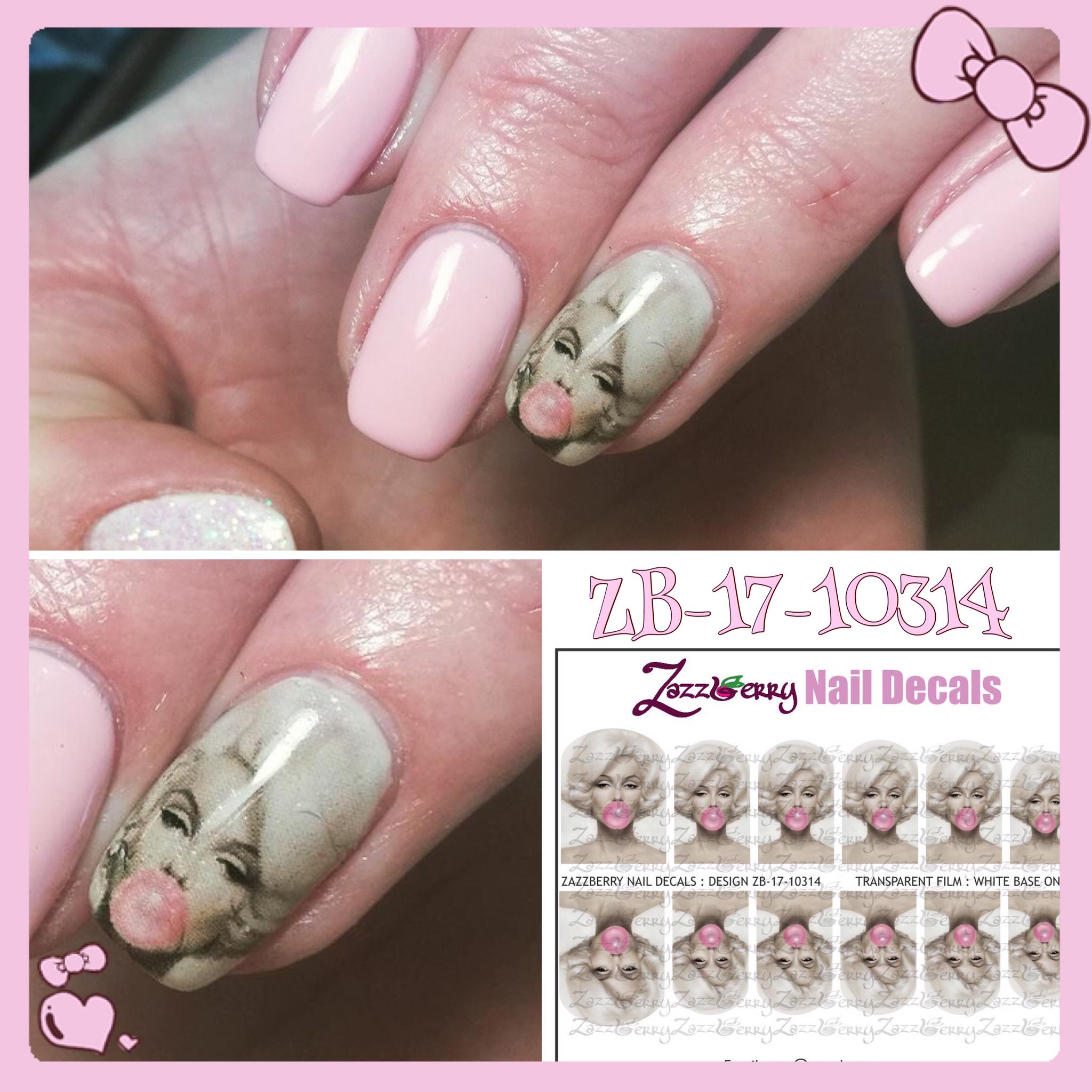 Marilyn Monroe Bubble Gum | Celebrities | ZazzBerry Water Slide Nail ...