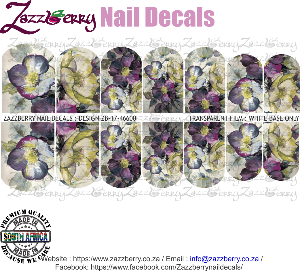 Purple Floral Dream Nail Decals