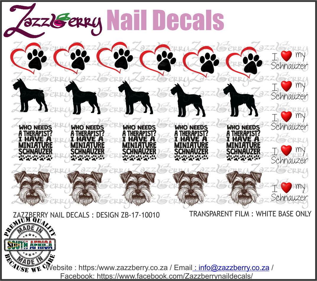 Schnauzer Love Nail Decals