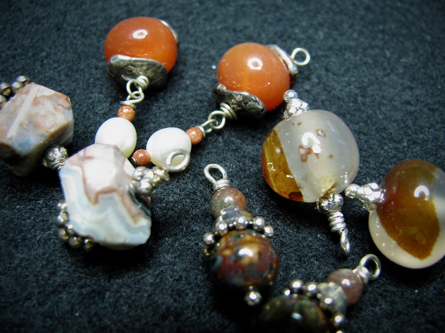 Orange, White, Neutral Color Beads