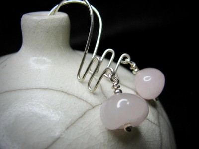 Sterling Earrings with Light Pink Stone