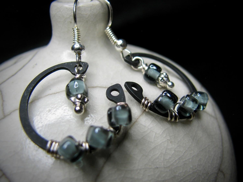 Black C Clamp with Translucent Black Beads