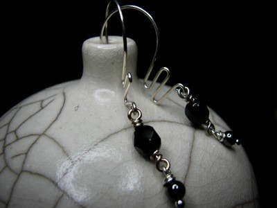 Sterling Silver Squiggles with Black Bead