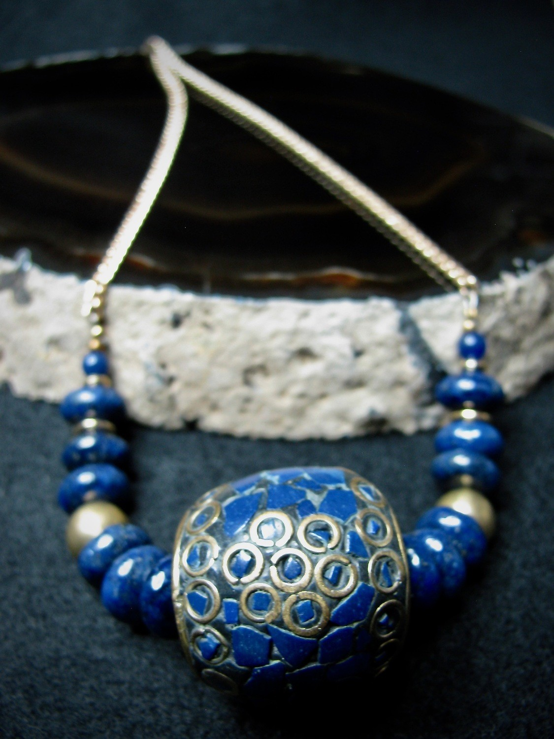 Blue Tibetan and Lapis Bead Necklace