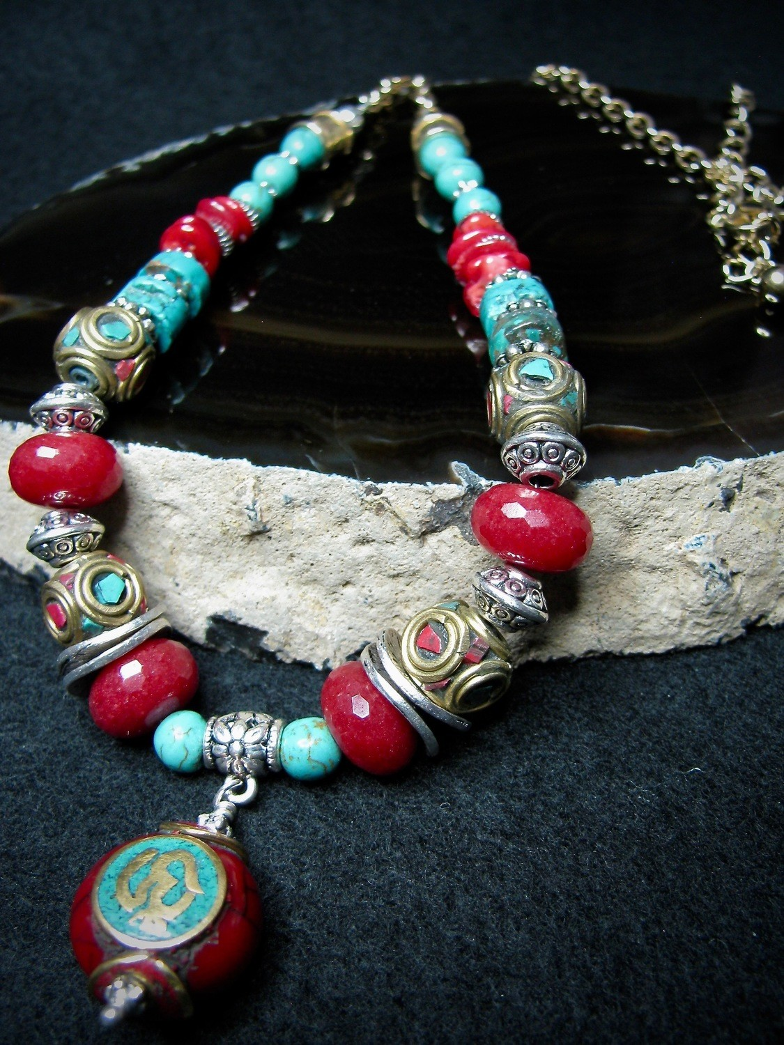 Coral and Turquoise Tibetan Bead Necklace