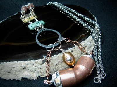 Brass Hinge and Copper Pipe Necklace
