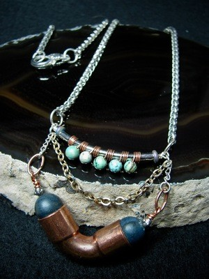 Hardware Necklace with Blue Green Beads