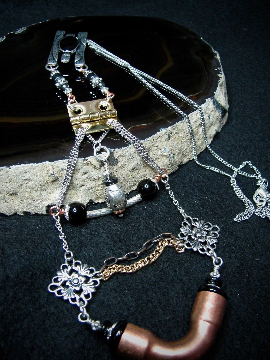 Pipe and Hinge Hardware Necklace