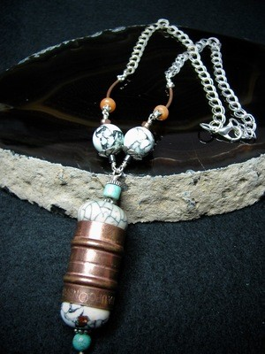Turquoise Bead and Copper Pipe Necklace