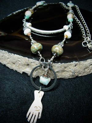 Hardware Necklace with Bone Hand