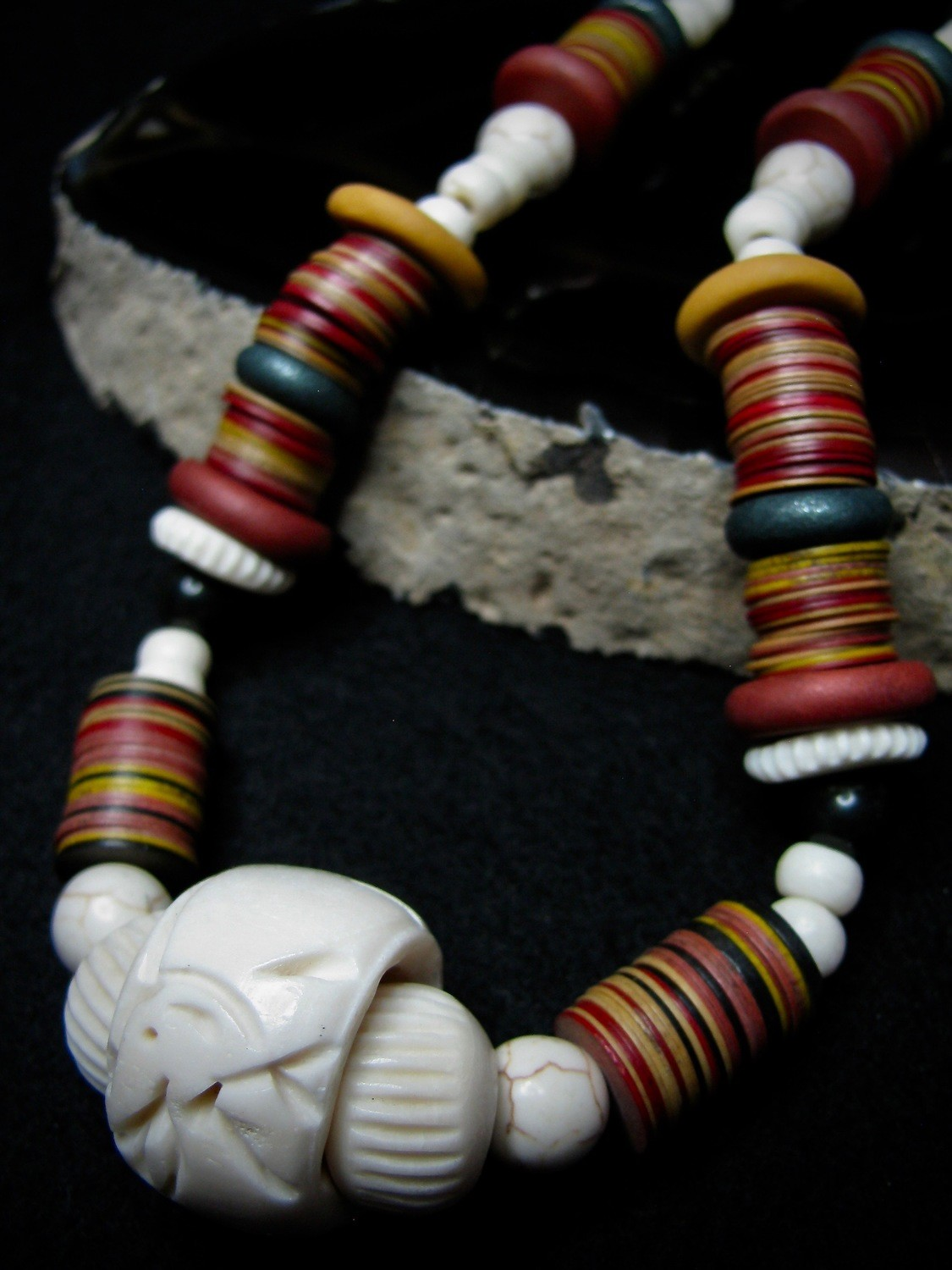 Carved Bone Bead Necklace
