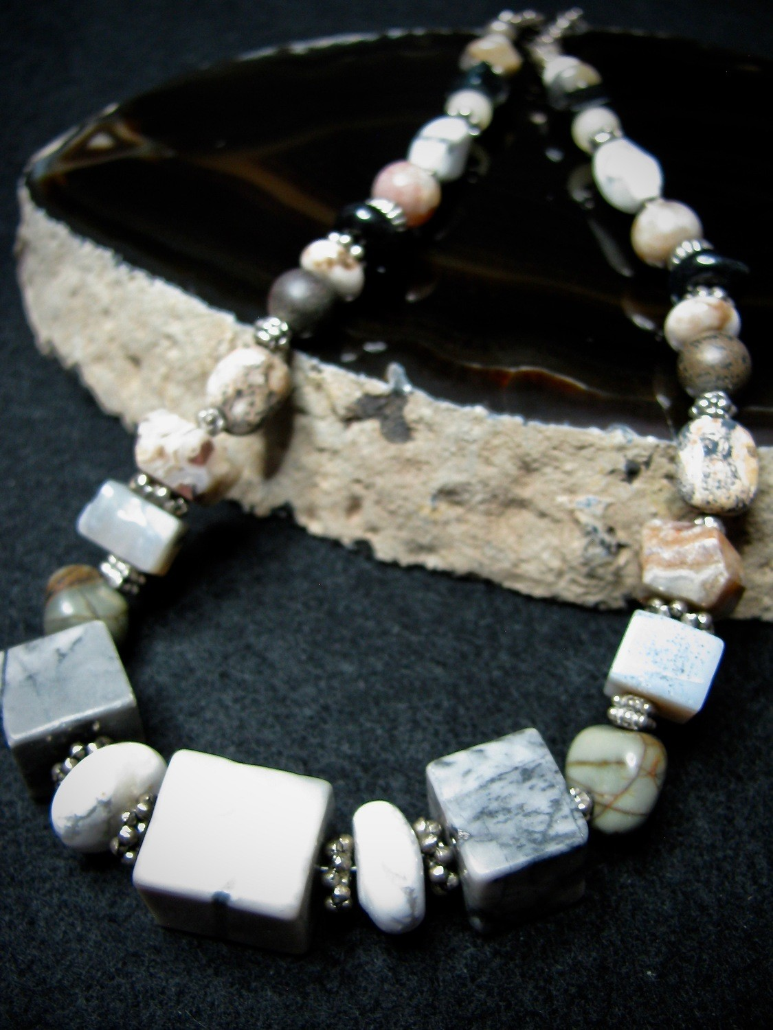 Square Stone Bead Necklace