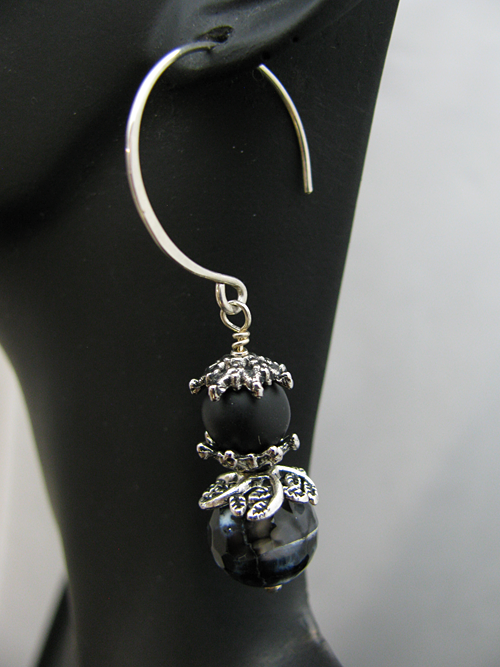 Black Stones on Large Round Sterling Earwire
