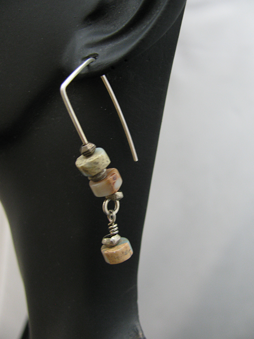 Picture Jasper Stone Beads on Squared Earwire