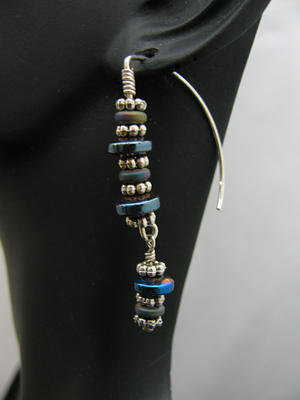 Blue and Silver Stacked Sterling Earrings