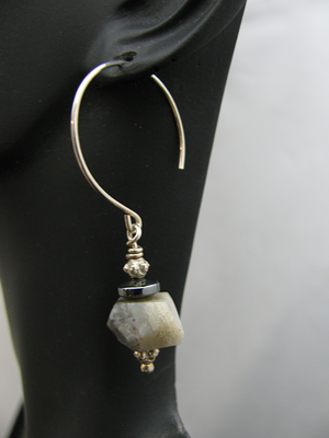 Large Round Sterling Earwire with Srregular stone