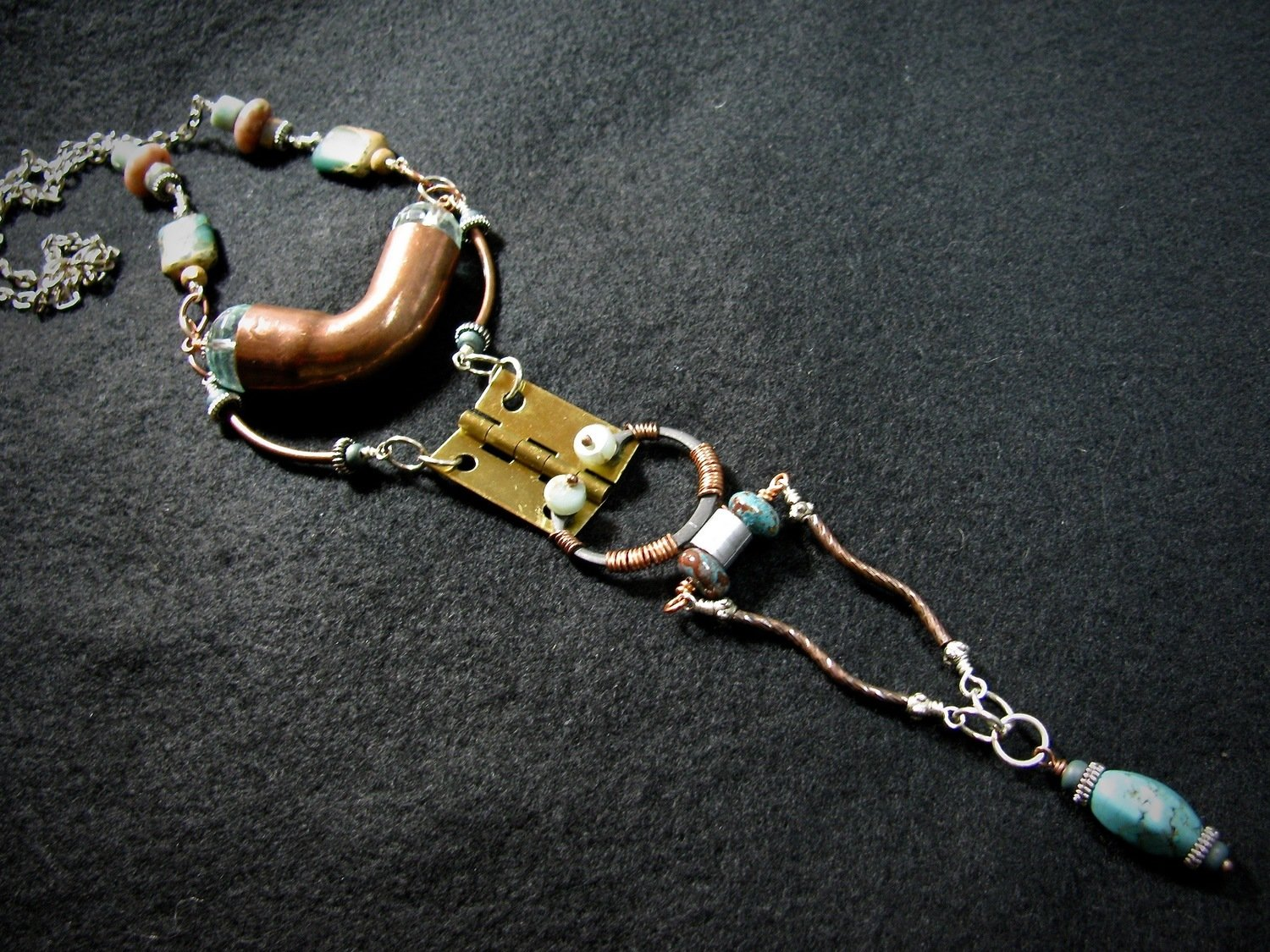 Hardware Necklace with Pipe and Hinge