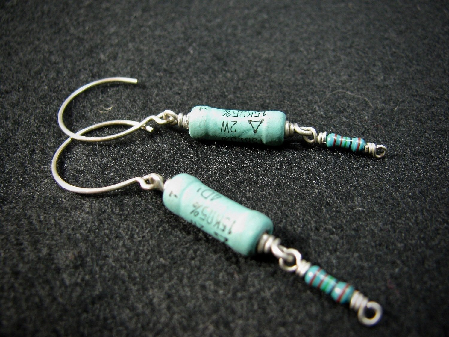 Green Resistors with Sterling Silver Earwire