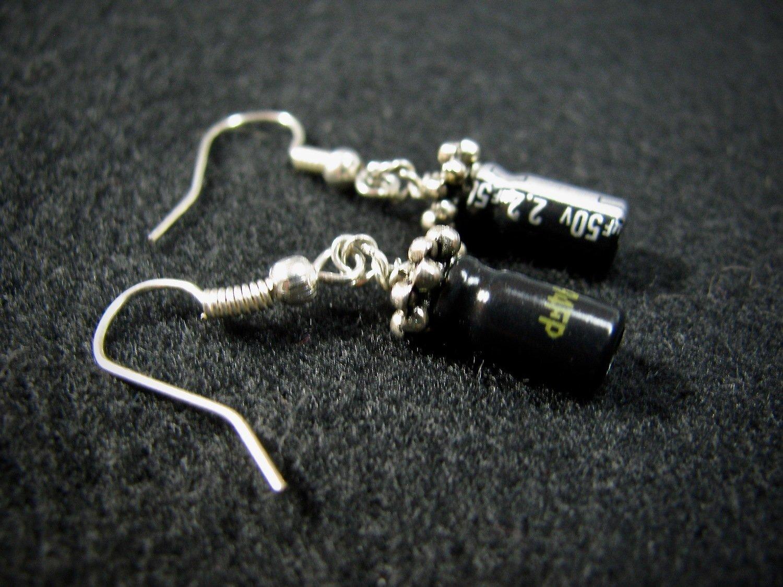 Black Capacitor Earrings