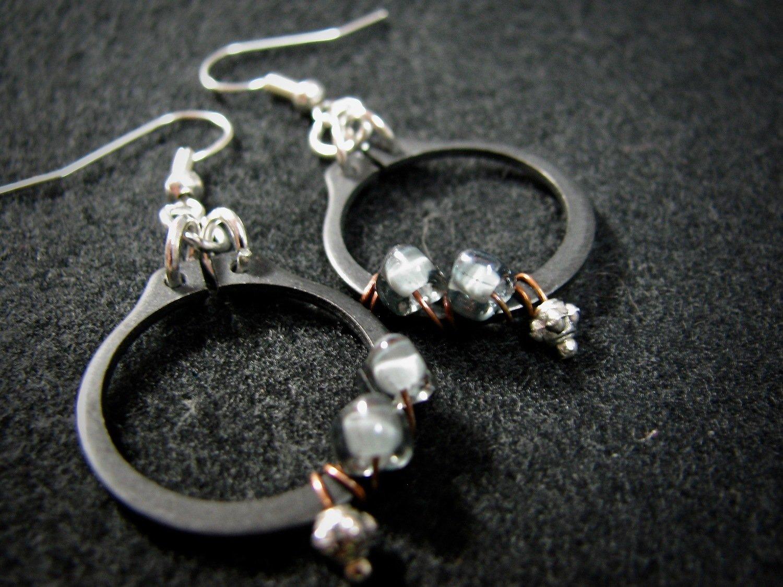 Wrapped Black O Clamp Earrings