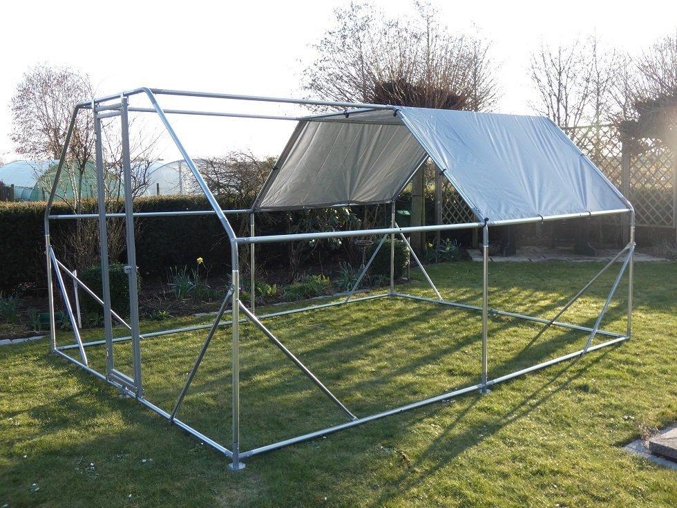 Kippenren / volière 6 x 3 x 2 m plat dak  incl draad en zeil 01160