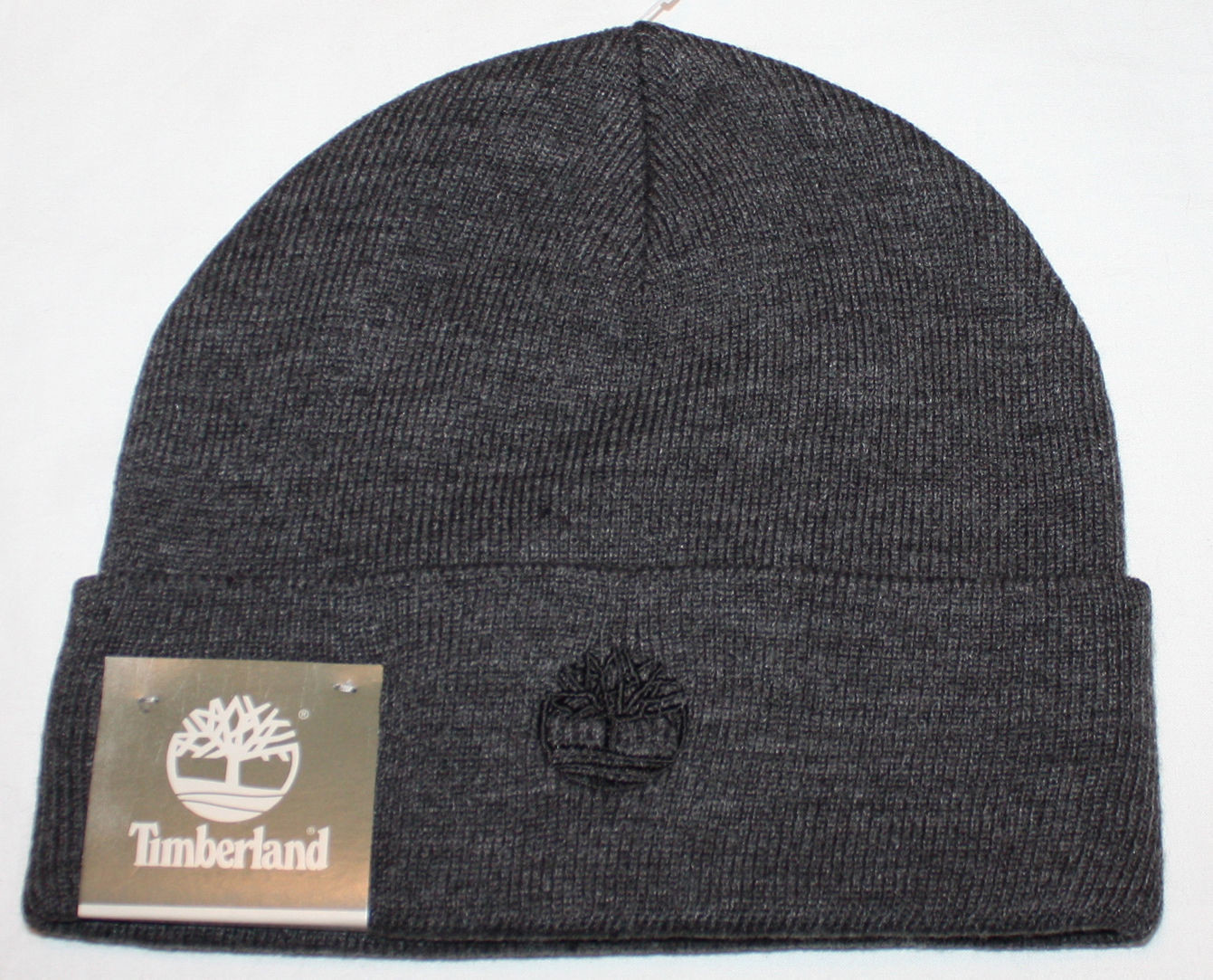 Timberland Men's Charcoal Gray Cuffed Beanie Hat (One Size)