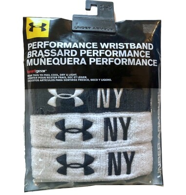 "Under Armour 1"" Performance Navy Blue and White Wristband 4-Pack"
