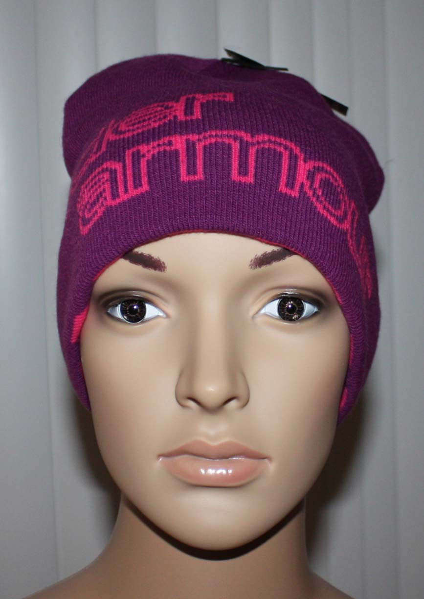 "purple hat with pink ""Under Armour"" stitching (front)"