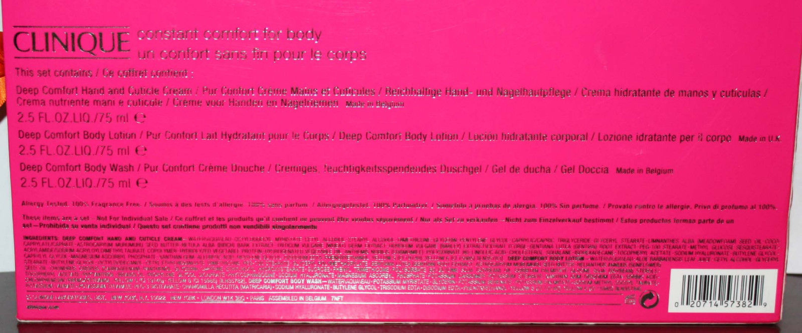 Info on back of packaging