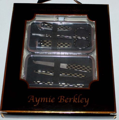 6 pc. Aymie B' Black/Gold Print Manicure Set & Black/Gold/Silver Shimmer Case