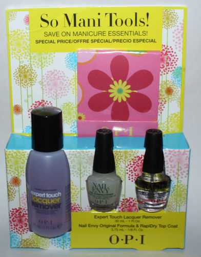OPI So Mani Tools! Nail Envy/Rapidry/Lacquer Remover/Nail File Matchbook/Wipes 09010