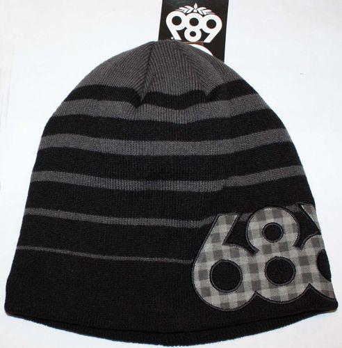 686 LUMBER Men's Black/Gray Stripe/ Plaid Wordmark Beanie Hat (One Size)