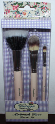 The Vintage Cosmetic Company Essential Face Brush Set Powder/Blusher/Foundation 08751