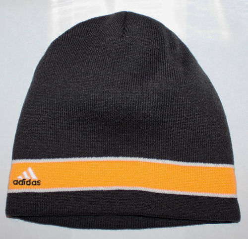 adidas STAGGER Men's Charcoal/Yellow/White Reversible Beanie Hat (One Size) 08626