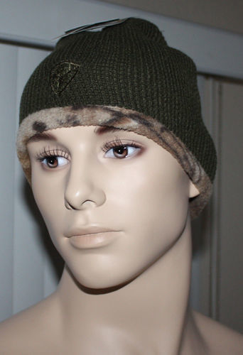Hot Shot Men's Reversible To Camo Beanie Cap -Olive (One Size) 08617