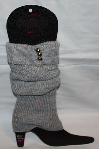 Steve Madden Women's Gray/Metallic Accents Knit Leg Warmers Boot Toppers (One Size) 08543