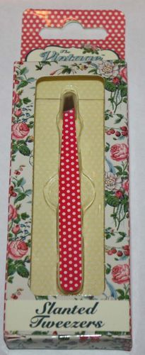 The Vintage Cosmetic Company Dark Pink/Polka Dots Slanted Eye Brow Tweezers 08538