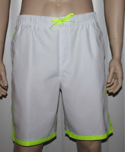 Nike Men's White With Neon/Blue/Aqua Accent Stripes Swim Shorts Trunks (Large) 08271