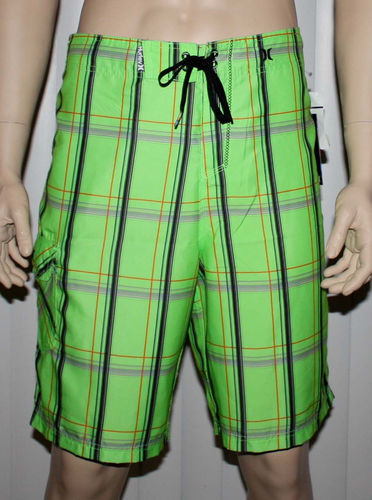 Hurley PUERTO RICO Men's Green/Black/Gray/Orange Plaid Swim Board Shorts 08270