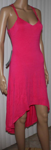 Bebe Women's High Low Crisscross Open Back Dress -Bright Rose (Small)