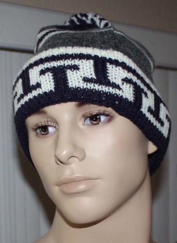 Timberland Men's Gray, Cream & Purple Crocheted Stitching Beanie Hat (One Size) 07565