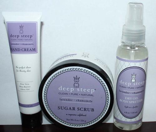 1 Deep Steep Lavender * Chamomile Hand Creams 1 Sugar Scrub 1 Dry Oil Spritzer 07384