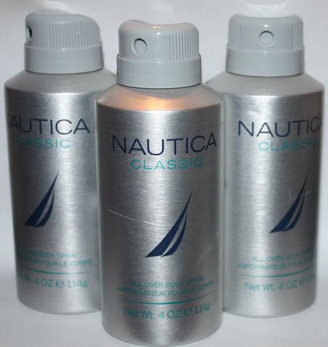 Lot Of 3 NAUTICA Classic Men's All Over body spray 4 oz Each 07167