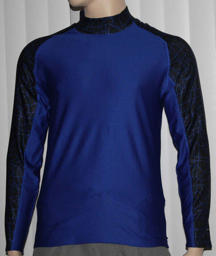 Layer 8 Men's Qwick-Dry Base Layer Mock Neck Long Sleeve Shirt _ Blue -Small 06796